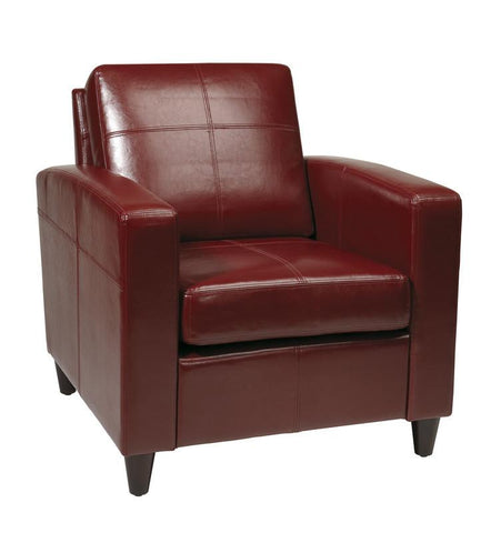 Office Star Ave Six VNS51A-CBD Venus Club Chair (Tool-Less Assembly) in Crimson Red Eco Leather - Peazz Furniture