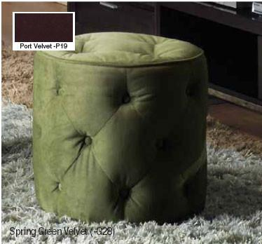 Office Star Ave Six CVS905-P19 Curves Tufted Round Ottoman in Port Velvet - Peazz Furniture