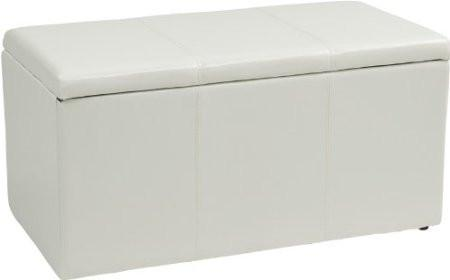 Office Star OSP Designs MET73V-PB11 3 Piece White Vinyl Ottoman Set - Peazz Furniture