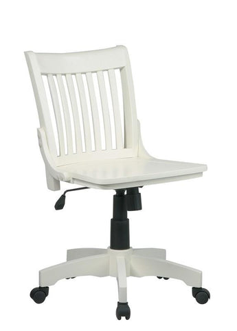 Office Star OSP Designs 101ANW Deluxe Armless Wood Banker's Chair with Wood Seat in Antique White Finish - Peazz Furniture