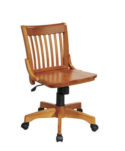 Office Star OSP Designs 101FW Deluxe Armless Wood Banker's Chair with Wood Seat in Fruit Wood Finish - Peazz Furniture