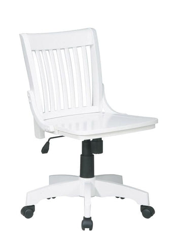 Office Star OSP Designs 101WHT Deluxe Armless Wood Banker's Chair with Wood Seat in White Finish - Peazz Furniture