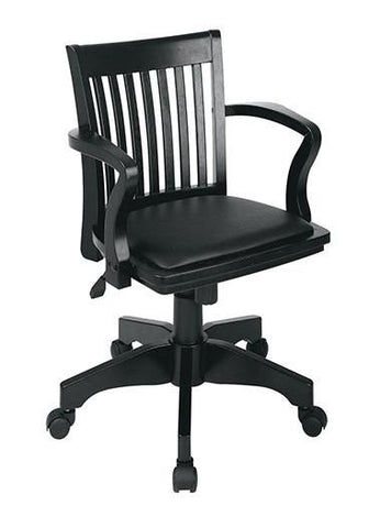 Office Star OSP Designs 108BLK-3 Deluxe Wood Banker's Chair with Vinyl Padded Seat in Black Finish with Black Vinyl - Peazz Furniture