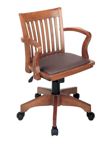 Office Star OSP Designs 108FW-1 Deluxe Wood Banker's Chair with Vinyl Padded Seat in Fruit Wood Finish with Brown Vinyl - Peazz Furniture