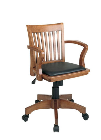 Office Star OSP Designs 108FW-3 Deluxe Wood Banker's Chair with Vinyl Padded Seat in Fruit Wood Finish with Black Vinyl - Peazz Furniture