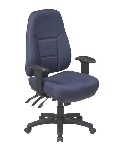 Office Star Products 2907-A High Back Multi Function Ergonomic Chair with Ratchet Back Height and 2-way Adjustable Arms. - Peazz Furniture