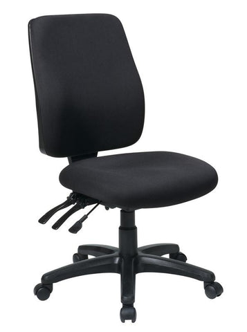 Office Star Work Smart 33340-30 High Back Dual Function Ergonomic Chair with Ratchet Back Height Adjustment without Arms with Custom Fabric Choice - Peazz Furniture