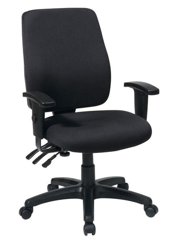 Office Star Work Smart 33347-30 High Back Dual Function Ergonomic Chair with Ratchet Back Height Adjustment with Arms with Custom Fabric Choice - Peazz Furniture