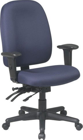 Office Star Products 43998-A Dual Function Ergonomic Chair with Seat Slider, Ratchet Back and Adjustable Soft PU Padded Arms - Peazz Furniture