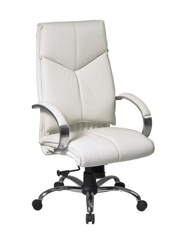 Office Star Pro-Line II 7270 Deluxe High Back White Executive Leather Chair with Chrome Finish Base and Padded Polished Aluminum Arms - Peazz Furniture