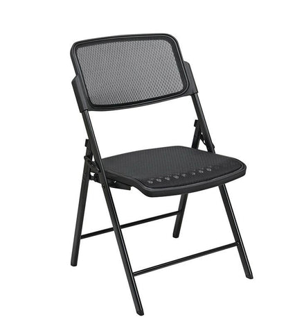 Office Star Pro-Line II 81308 Deluxe Folding Chair With Black ProGrid® Seat and Back and Black Finish (2-Pack) Gangable - Peazz Furniture
