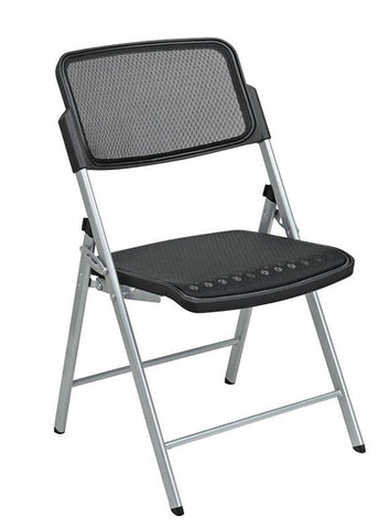 Office Star Pro-Line II 81608 Deluxe Folding Chair With Black ProGrid® Seat and Back and Silver Finish (2-Pack) Gangable - Peazz Furniture