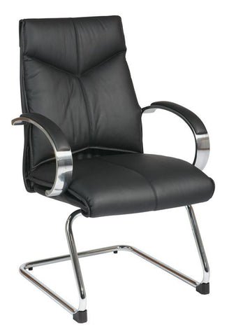 Office Star Pro-Line II 8205 Deluxe Mid Back Black Visitors Leather Chair with Chrome Finish Sled Base and Padded Polished Aluminum Arms - Peazz Furniture