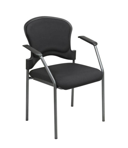 Office Star Pro-Line II 82710-30 Titanium Finish Visitors Chair With Arms and Upholstered Contour Back - Peazz Furniture