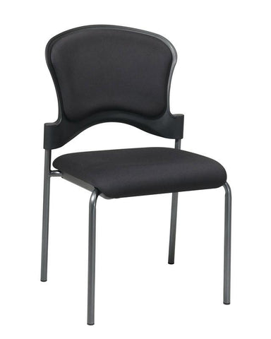 Office Star Pro-Line II 82720-30 Titanium Finish Armless Visitors Chair and Upholstered Contour Back - Peazz Furniture