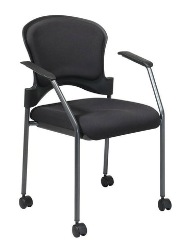 Office Star Pro-Line II 82740-30 Titanium Finish Rolling Visitors Chair With Casters, Arms and Upholstered Contour Back - Peazz Furniture