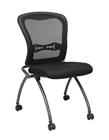 Office Star Pro-Line II 84220-30 Deluxe Armless Folding Chair With ProGrid® Back, Casters and Titanium Finish (2-Pack) - Peazz Furniture