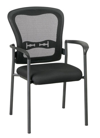 Office Star Pro-Line II 84510-30 Titanium Finish Visitors Chair with Arms and ProGrid® Back - Peazz Furniture