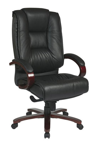 Office Star Pro-Line II 8500 Deluxe High Back Black Executive Leather Chair with Deluxe Locking Mid Pivot Knee Tilt and Mahogany Finish - Peazz Furniture