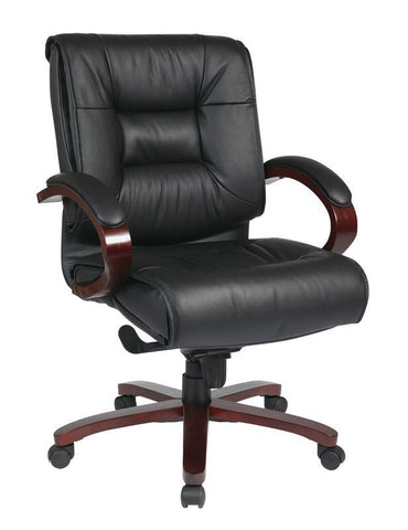 Office Star Pro-Line II 8501 Deluxe Mid Back Black Executive Leather Chair with Deluxe Locking Mid Pivot Knee Tilt and Mahogany Finish - Peazz Furniture