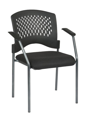 Office Star Pro-Line II 8610-30 Titanium Finish Visitors Chair with Arms and Ventilated Plastic Wrap Around Back - Peazz Furniture