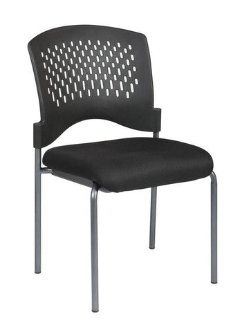 Office Star Pro-Line II 8620-30 Titanium Finish Armless Visitors Chair with Ventilated Plastic Wrap Around Back - Peazz Furniture