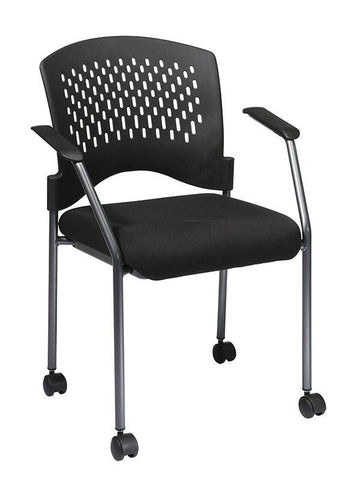 Office Star Pro-Line II 8640-30 Titanium Finish Rolling Black Visitors Chair with Casters, Arms and Ventilated Plastic Wrap Around Back - Peazz Furniture