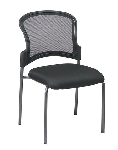 Office Star Pro-Line II 86724-30 Titanium Finish Black Visitors Chair with ProGrid® Back and Straight Legs - Peazz Furniture