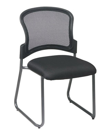 Office Star Pro-Line II 86725-30 Titanium Finish Black Visitors Chair with ProGrid® Back and Sled Base - Peazz Furniture