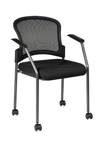 Office Star Pro-Line II 86740-30 Titanium Finish Rolling Visitors Chair with Casters - Peazz Furniture
