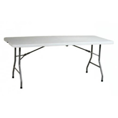 Office Star Work Smart BT6FQW 6' Resin Multi Purpose Center Fold Table with Wheels - Peazz Furniture