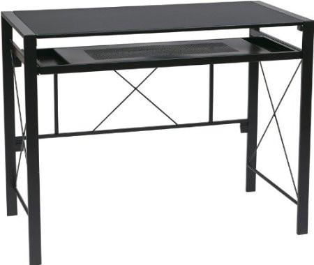 Office Star OSP Designs CRS25-3 Creston Desk with Black Frame and BlackTop - Peazz Furniture