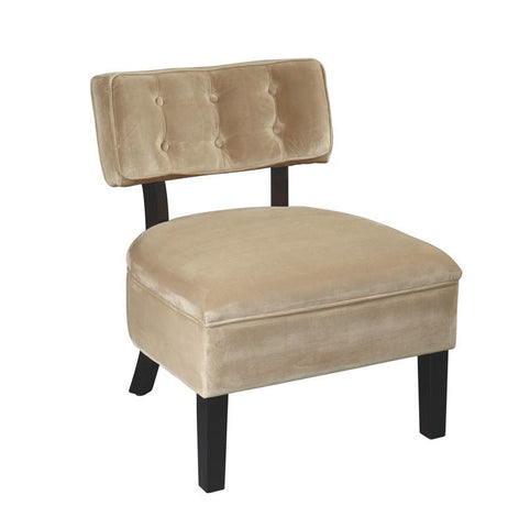 Office Star Ave Six CVS263-C27 Curves Button Accent Chair in Coffee Velvet - Peazz Furniture