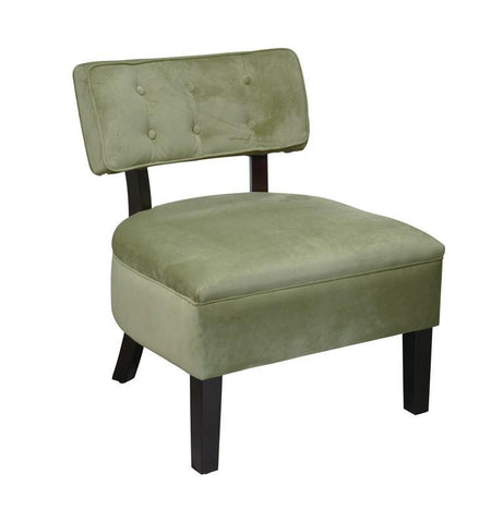 Office Star Ave Six CVS263-G28 Curves Button Accent Chair in Spring Green Velvet - Peazz Furniture