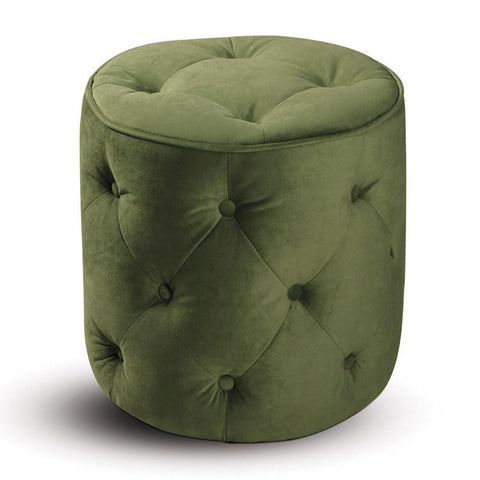 Office Star Ave Six CVS905-G28 Curves Tufted Round Ottoman in Spring Green Velvet - Peazz Furniture