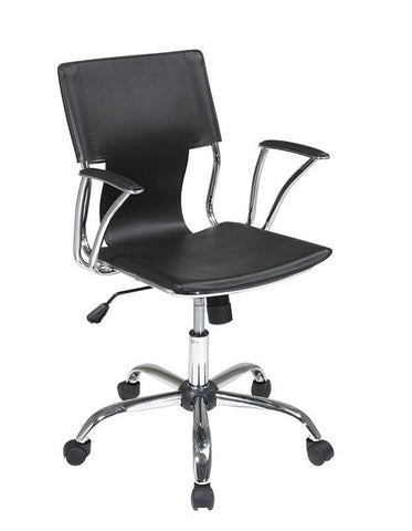 Office Star Ave Six DOR26-BK Dorado Office Chair with Fixed Padded Arms and Chrome Finish in Black - Peazz Furniture
