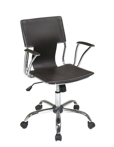 Office Star Ave Six DOR26-ES Dorado Office Chair with Fixed Padded Arms and Chrome Finish in Espresso - Peazz Furniture
