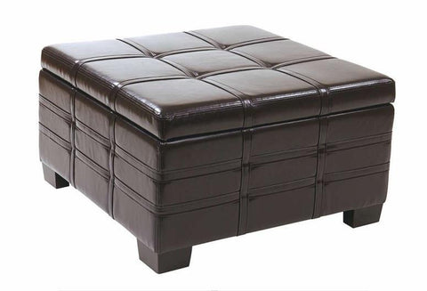 Office Star Ave Six DTR3030S-EBD Detour Strap Ottoman with Tray in Espresso Eco Leather - Peazz Furniture