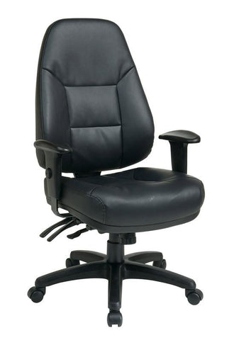 Office Star Work Smart EC4350-EC3 Deluxe Multi Function High Back Black Eco Leather Chair with Ratchet Back and 2-Way Adjustable Arms - Peazz Furniture