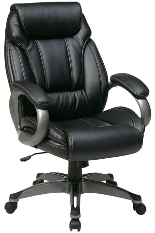 Office Star Work Smart ECH30627-EC3 Executive Eco Leather Chair with Padded Arms and Coated Base - Peazz Furniture
