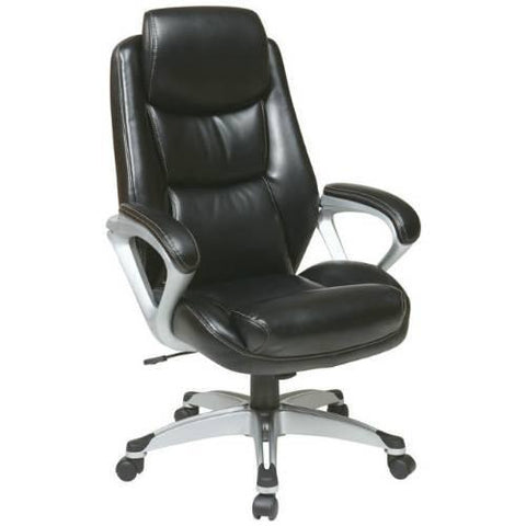 Office Star Work Smart ECH89186-EC3 Executive Eco Leather Chair with Padded Arms, Headrest and Coated Base Feturing Coil Spring Seating Comfort - Peazz Furniture