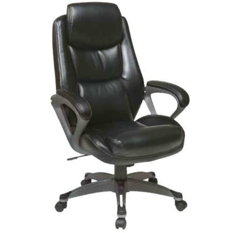 Office Star Work Smart ECH89187-EC3 Executive Eco Leather Chair with Padded Arms, Headrest and Coated Base Feturing Coil Spring Seating Comfort - Peazz Furniture