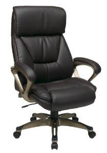 Office Star Work Smart ECH89301-EC1 Executive Eco Leather Chair with Padded Arms and Coated Base Featuring Coil Spring Comfort - Peazz Furniture