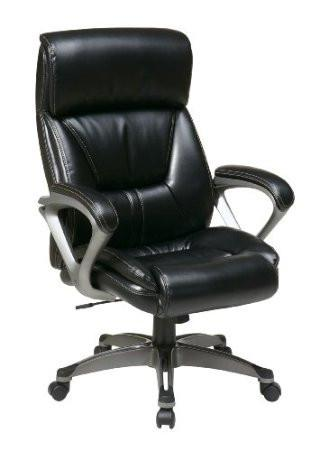 Office Star Work Smart ECH89307-EC3 Executive Eco Leather Chair with Padded Arms and Coated Base Featuring Coil Spring Seating Comfort - Peazz Furniture