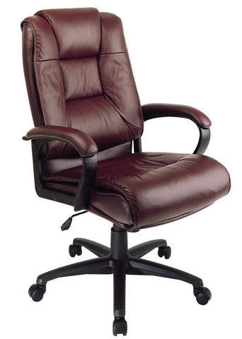 Office Star Work Smart EX5162-4 Executive High Back Burgundy Glove Soft Leather Chair with Padded Loop Arms - Peazz Furniture