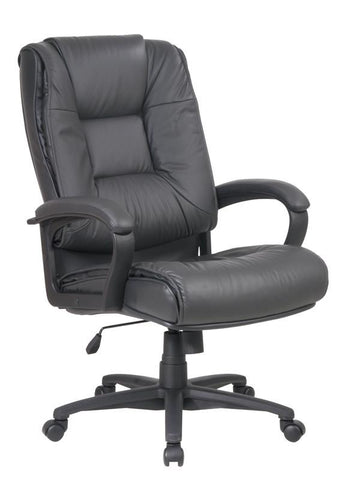 Office Star Work Smart EX5162-G12 Executive High Back Dark Grey Glove Soft Leather Chair with Padded Loop Arms - Peazz Furniture