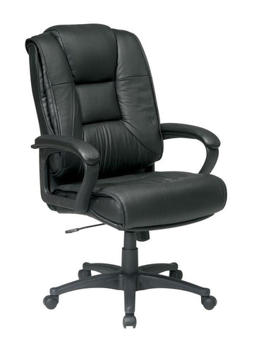 Office Star Work Smart EX5162-G13 Executive High Back Black Glove Soft Leather Chair with Padded Loop Arms - Peazz Furniture