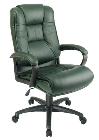 Office Star Work Smart EX5162-G16 Executive High Back Green Glove Soft Leather Chair with Padded Loop Arms - Peazz Furniture
