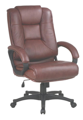 Office Star Work Smart EX5162-G8 Executive High Back Saddle Glove Soft Leather Chair with Padded Loop Arms - Peazz Furniture