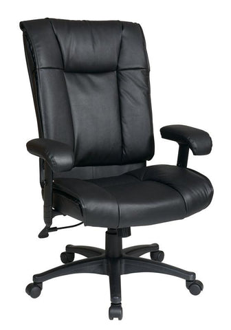 Office Star Work Smart EX9382 3 Deluxe High Back Executive Deluxe Coated  Black Leather Chair